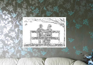 Couple On Bench Personalised Print - canvas prints & art