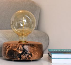 Putsborough Ash Wood Table Lamp With Edison Light Bulb