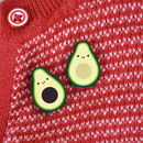 Kawaii Avocado Wooden Pin Or Brooch Set