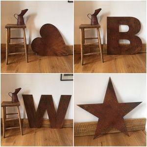 Big Rusty Metal Letters Lettering Numbers Symbols Sign - room decorations