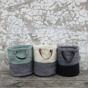 Fairtrade Handmade Felt Laundry Storage Bucket Bag