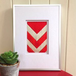 Chevron Original Hand Stitched Picture - textile art
