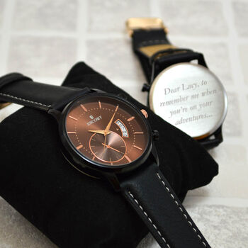Personalised Men's Copper And Black Wrist Watch