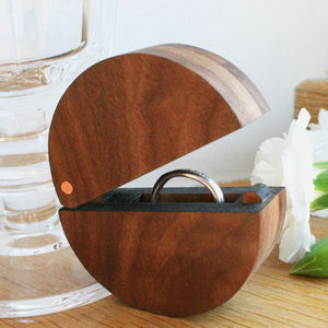 Walnut Wood And Copper Round Ring Box - storage & organisers