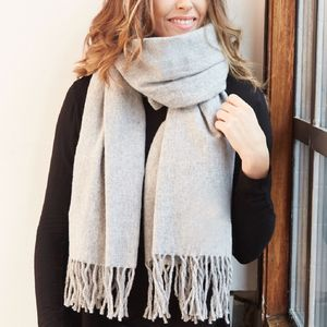 Grey Super Soft Lambswool Scarf - sale treats for you