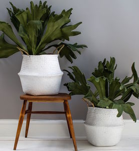 White Seagrass Basket - baskets
