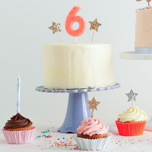 Number Candle With Gold Glitter