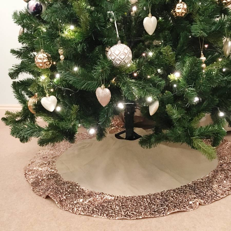 hessian christmas tree skirt with rose gold sequin trim - Christmas Tree Skirt