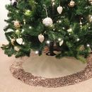 Hessian Christmas Tree Skirt With Rose Gold Sequin Trim