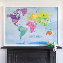 Personalised Childrens World Map Notice Board
