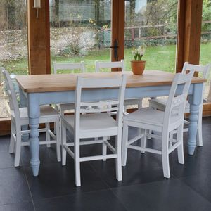 Farmhouse Table And Ball Back Chairs Hand Painted - furniture