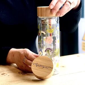 Personalised Wild Flower Water Bottle With Infuser