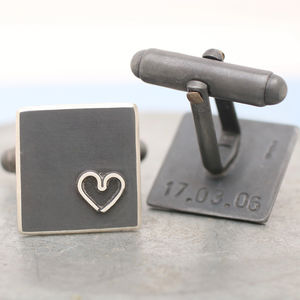 Personalised Silver Black Heart Cufflinks - wedding jewellery