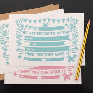 Papercut Style Kids Party Invites Set Of Eight