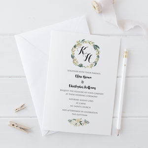 Watercolour Wreath Wedding Invitation - invitations