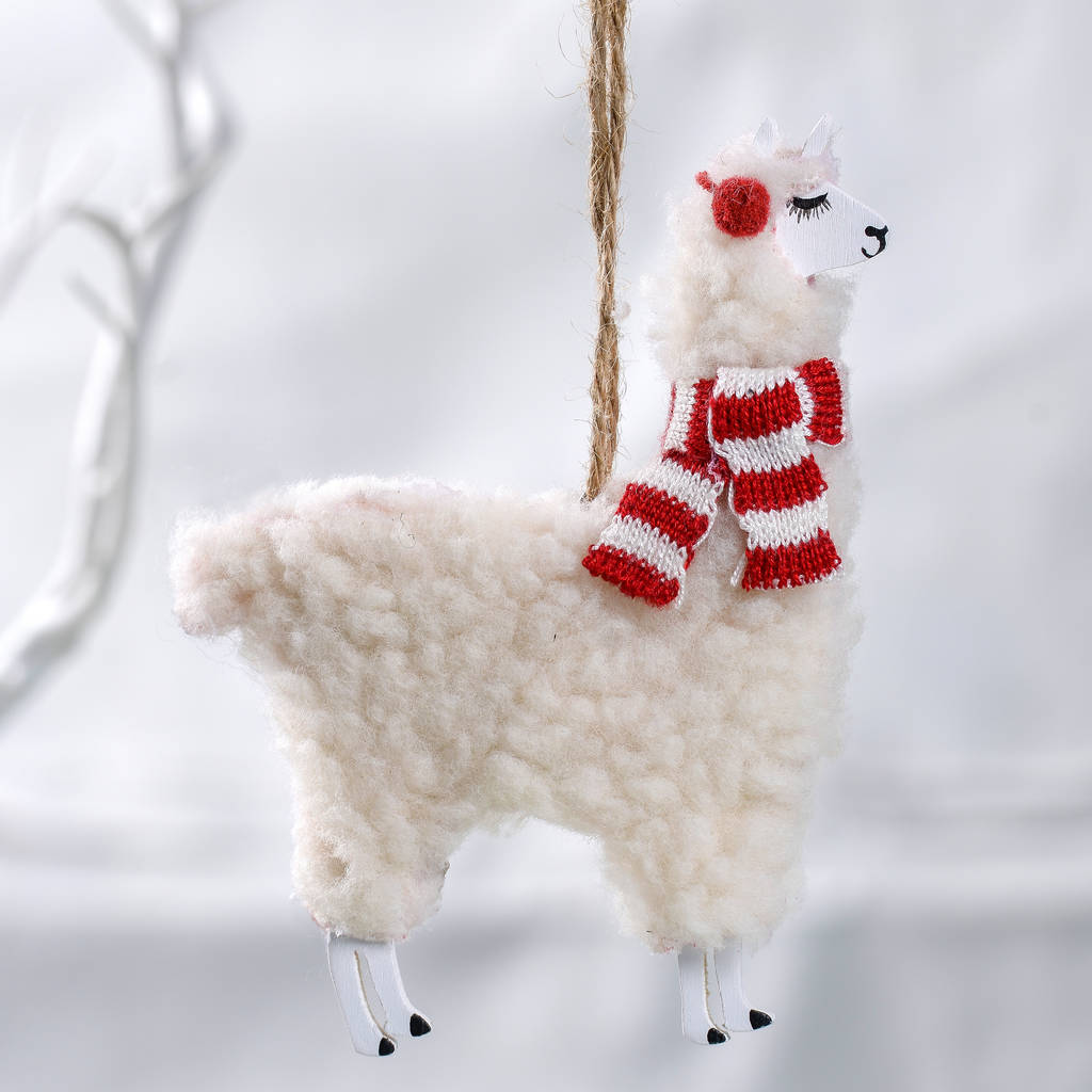 Llama Christmas Decorations.Woolly Llama Christmas Decoration