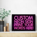 Personalised Neon Sign Print