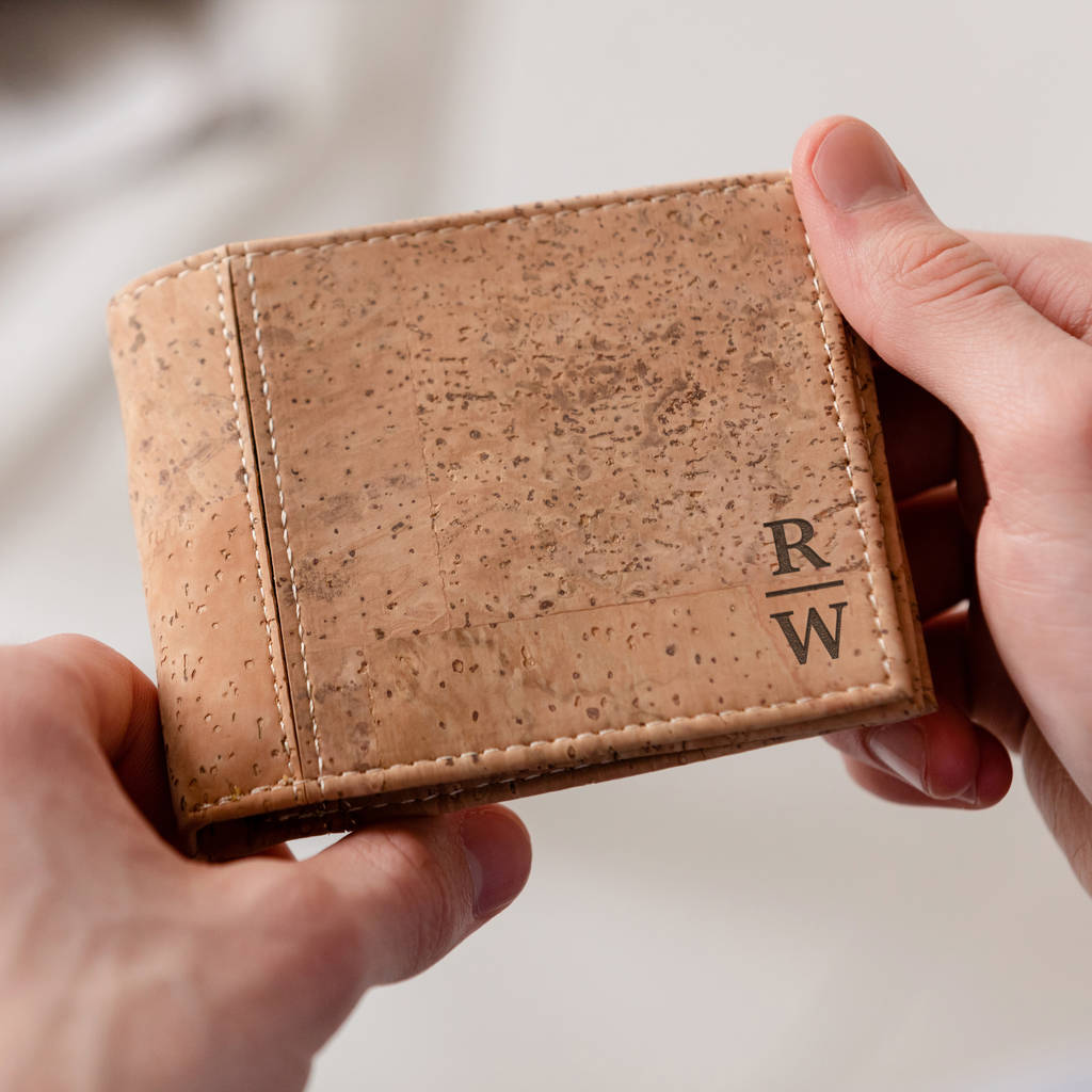 Personalised Monogram Vegan Cork Wallet For Him by Dust And Things