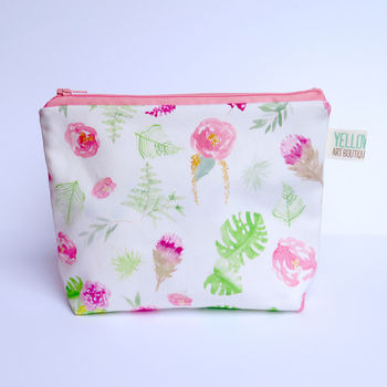 Small Handmade Colourful Floral Make Up Bag