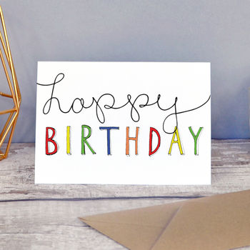 Happy Birthday Hand Lettered Card Design
