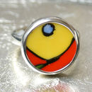 Clarice Cliff Upcycled Sterling Adjustable Silver Ring