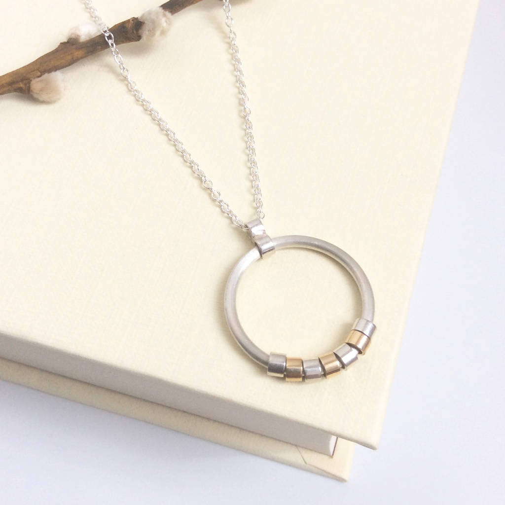 Silver And Gold Circle Necklace