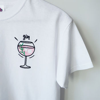 Embroidered Unisex ' Gin And Tonic' T Shirt