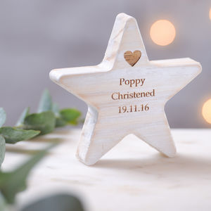 Personalised Wooden Star Christening Keepsake - christening gifts