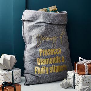 Personalised Grey Felt 'Dreaming Of' Christmas Sack - stockings & sacks