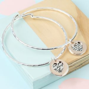 Mixed Metal Meaningful Words Charm Bangle