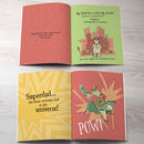interior pages of personalised super hero dad book for children