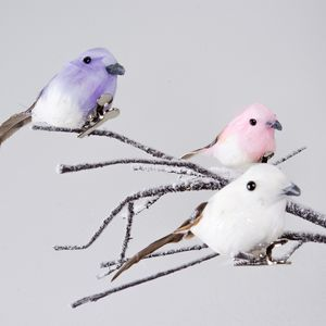 Pair Of Pastel Feather Clip On Birds