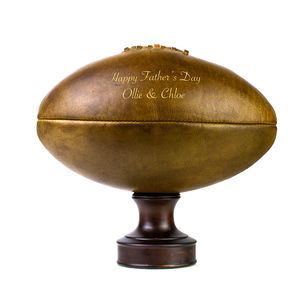 Personalised Vintage Leather Rugby Ball - let's play outside