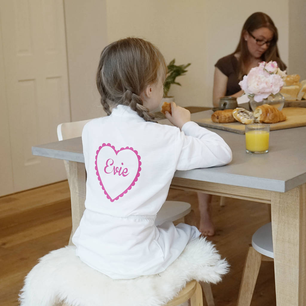 Personalised Kids Heart Dressing Gown By Sparks And Daughters