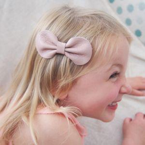 Girls Leather Bow Hair Clip Dusky Pink