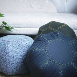 Moroccan Inspired Hand Stitched Pouffes Round - footstools & pouffes