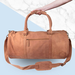Personalised Leather Classic Duffle Vintage Cognac - holdalls & weekend bags
