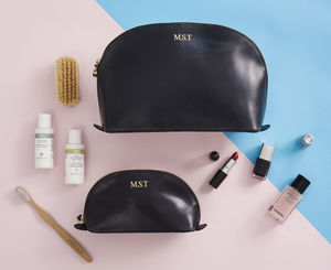 Matching Leather Toiletry Bag And Make Up Bag