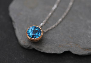 Blue Gemstone Gold Pendant Necklace - necklaces & pendants