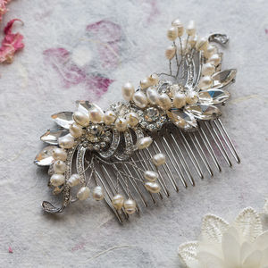 Katie Crystal And Pearl S Shape Hair Comb