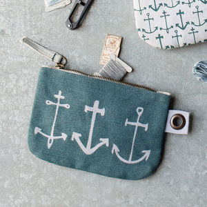 Anchor Print Zipper Pouch