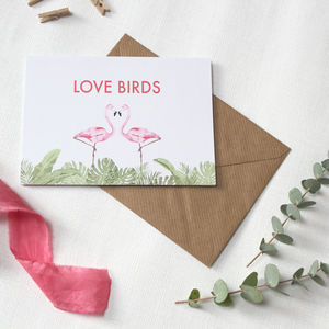 Flamingo Love Birds Card