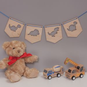 Children's Birch Wood Flag Dinosaur Bunting