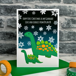 'First Christmas As My Daddy / Grandad' Dinosaur Card