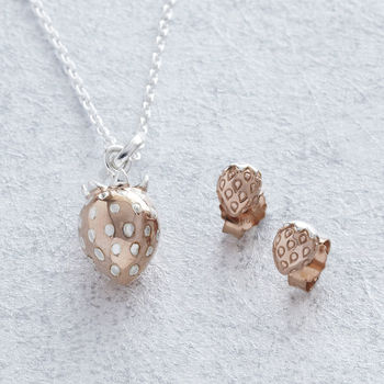 Rose Gold Strawberry Pendant Necklace And Earrings