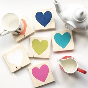 Reclaimed Wood Heart Coasters - our home