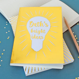 Personalised Gold Bright Ideas Notebook
