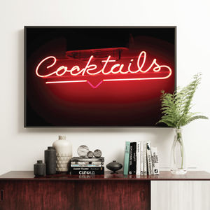 'Cocktails' Neon Sign Kitchen Bar Decor Print