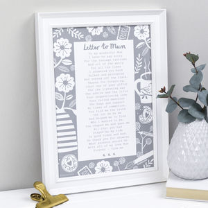 A Letter To Mum Poem Print