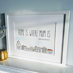 Home Is Where Mum Is Personalised, Hand Painted Print - paintings